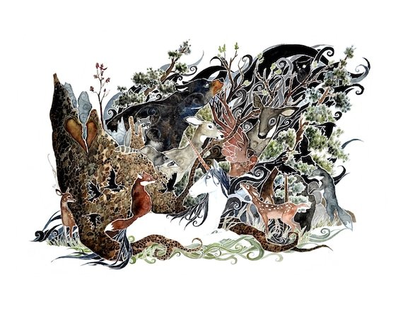 The Glass Menagerie -  art print of watercolor painting. Unicorns, whitetail deer, bear, fox, giclee