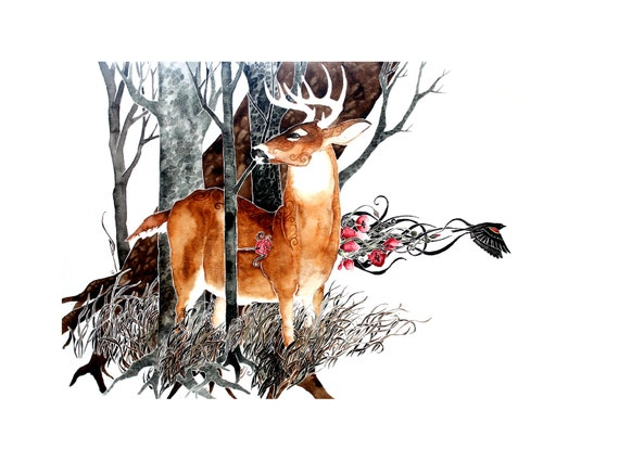 Heartshot -  giclee PRINT of original watercolor