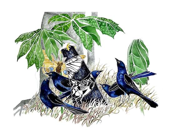 Wing Bones . giclee PRINT of original watercolor . by Pete Sandker