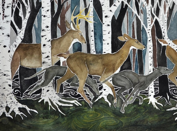 Run - PRINT of original art.  Whitetail deer, greyhounds, birch trees