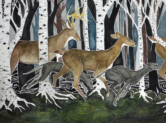 Run - PRINT of original art.  Whitetail deer, greyhounds, birch trees