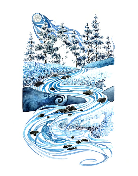 Winter Night -  PRINT of original watercolor