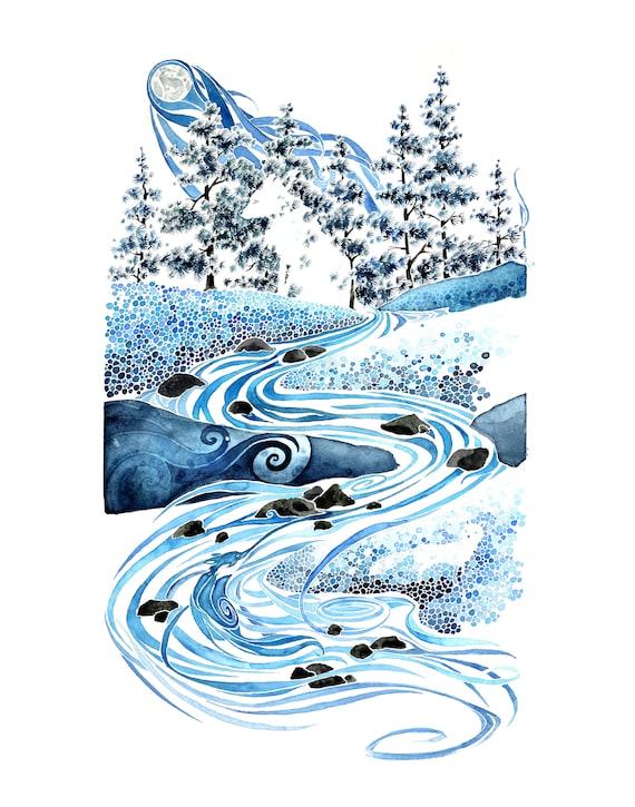 Winter Night -  PRINT of original watercolor