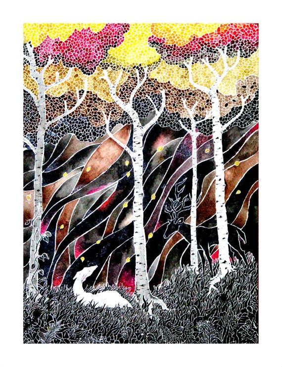 Fake Deer -giclee PRINT of one of my watercolors