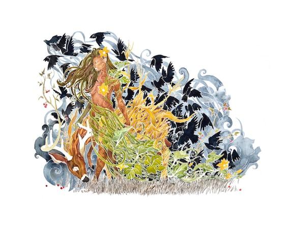 September Garden -  PRINT of original watercolor