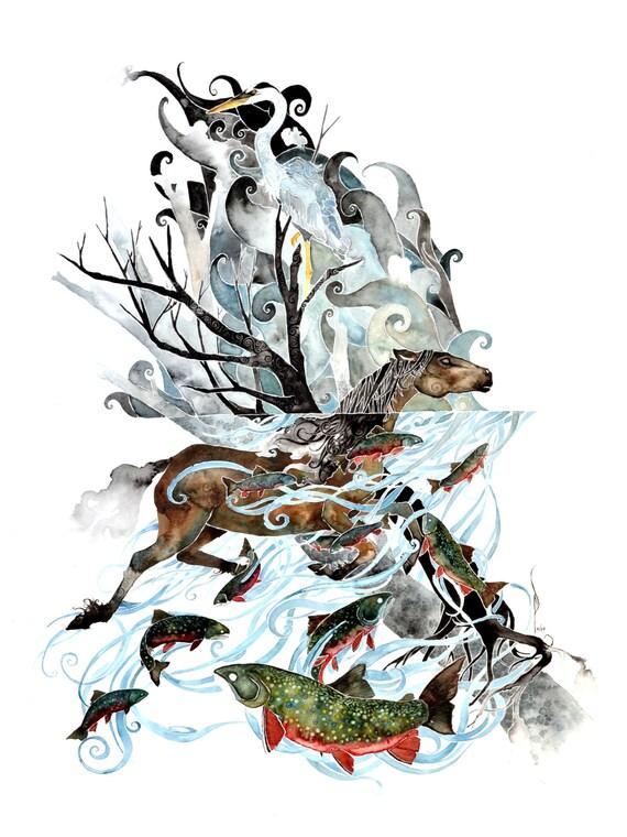 River -giclee PRINT of original watercolor art