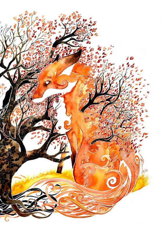 Forever Autumn -giclee PRINT of original watercolor