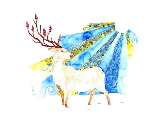 Winter Sun-giclee PRINT of original watercolor painting -
