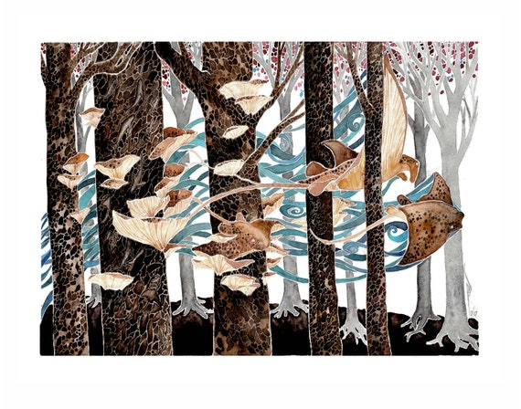 Wading Through the Woods-  PRINT of original watercolor