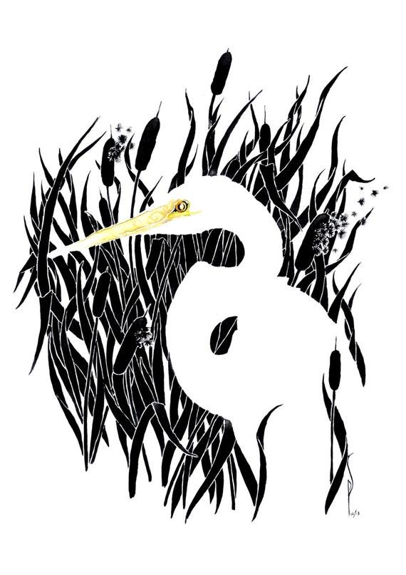 Egret -giclee PRINT of original watercolor
