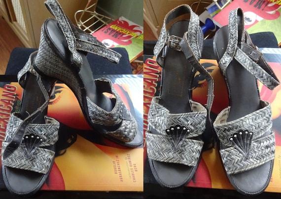 40s 50s Raffia Sea Shell Wedges Grey Heels size 6