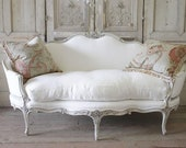 Sale 19th Century Carved Walnut Painted and Upholstered French Sofa