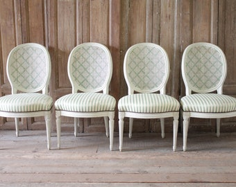537ee05bd187 SALE Set of Four Louis XVI Style French Painted Cane Back Dining Chairs