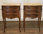 Pair of Vintage French Louis XV Style Wood Nightstands with Marble Tops
