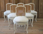 Set of 6 French Country Louis XV Style Cane Back Dining Chairs