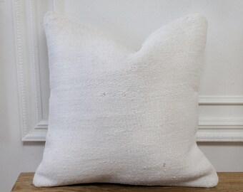 Handmade Decorative Turkish White Color Hemp Pillow 20x20 \u0131nches