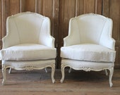 SALE Pair of Painted White Louis XV Style Linen Upholstered Bergere Chairs
