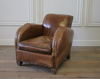 Early 20th Century Art Deco Style French Leather Club Chair
