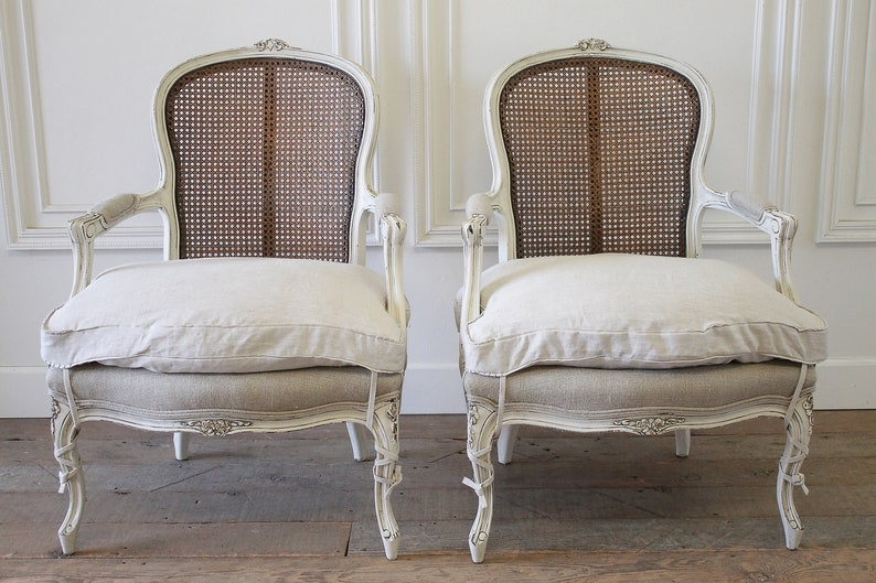 94611d39f271 20th Century Pair of Painted Louis XV Style Painted Cane Back