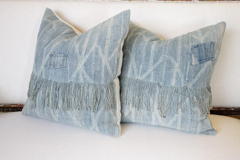 Pair of Faded Blue African Mudcloth Patchwork Pillow Shams image 0