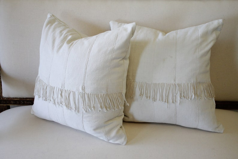 Pair of off White African Mudcloth Pillows with Original image 0