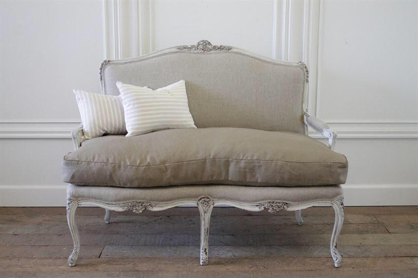Antico dipinto francese louis xv intagliato divano in lino etsy - Divano in francese ...
