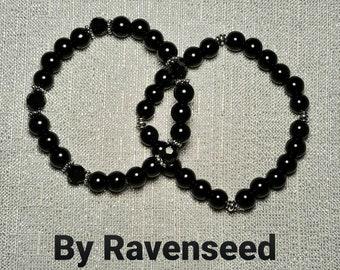 Black Onyx - Genuine Stone 8mm Round, Spiritual Intention Beaded Bracelet, Chakra Reiki Mala Beads