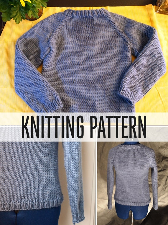 Simple Sweater Knitting Pattern One Piece No Sewing Worked In Etsy