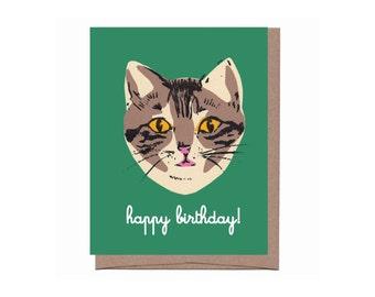 Green Cat Birthday Card