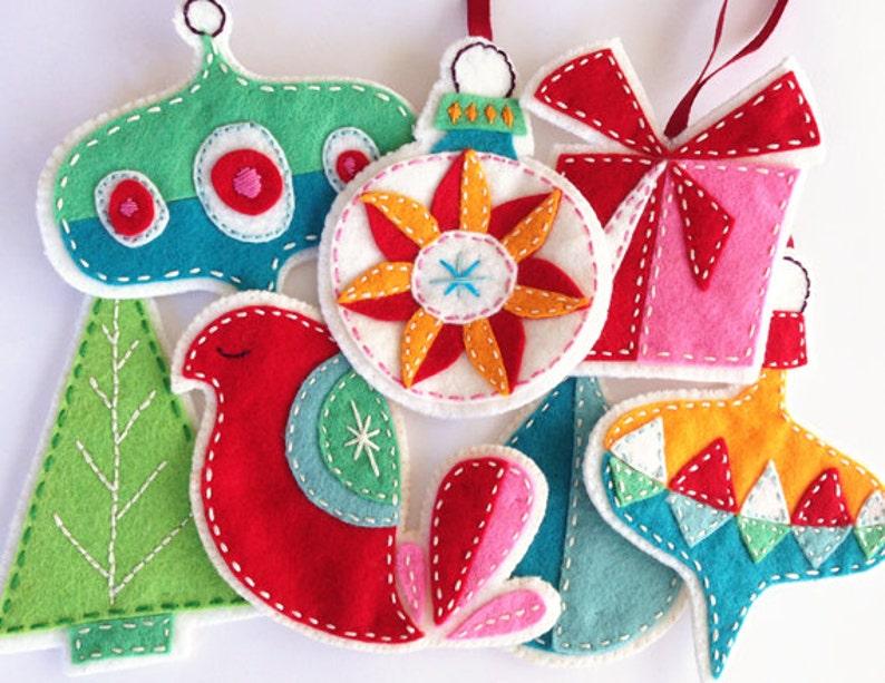 Retro Felt Christmas Ornaments Pattern Set Embroidered Digital Download