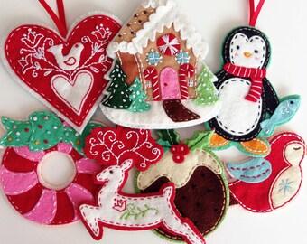 Nordic Felt Christmas Ornament Pattern Set Digital Download