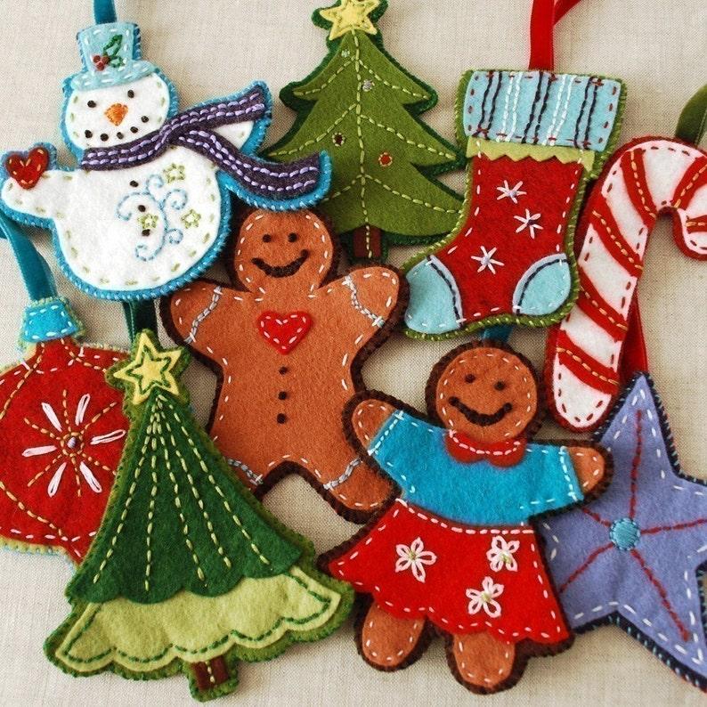 Gingerbread and Snowman Felt Christmas Ornament Set Digital image 0
