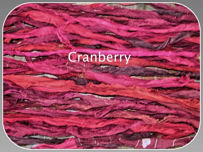 Cranberry Recycled Sari Silk Ribbon Yarn 5 Or 10 Yards For Etsy