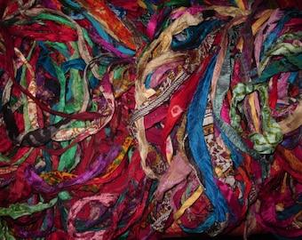 Gorgeous Persian Bazaar Multi Recycled Sari/Chiffon Silk Ribbon 5 - 10 Yards or Full Skein BOHO Jewelry Making SUPER FAST Shipping!