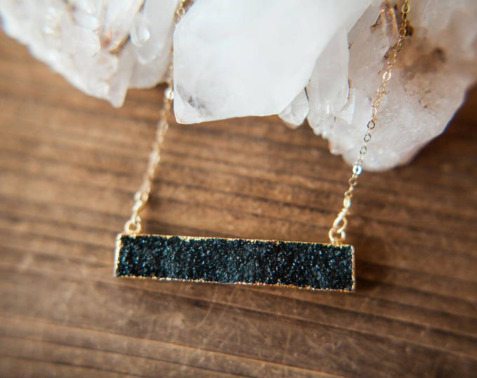 Featured listing image: Horizontal Barr Necklace // Black Drusy // Gold Crystal Necklace // Stacking Necklace // Layering Gemstone Jewelry // Black Druzy and