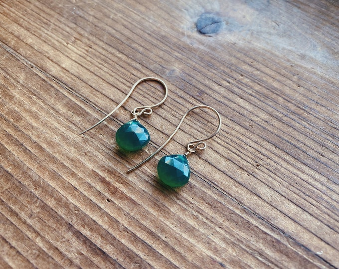 Featured listing image: Green Onyx Faceted Teardrop Earrings// Green Gemstone Earrings // Handmade in Indiana // by Rana Salame // Green Onyx Teardrop Earrings