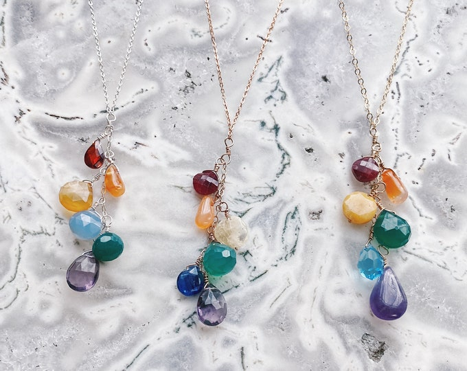 Featured listing image: Cascade Rainbow Necklace // Rainbow Necklace // Cascade Necklace // Layering Necklace // Rainbow Gemstones // Chakra Necklace // Rainbow