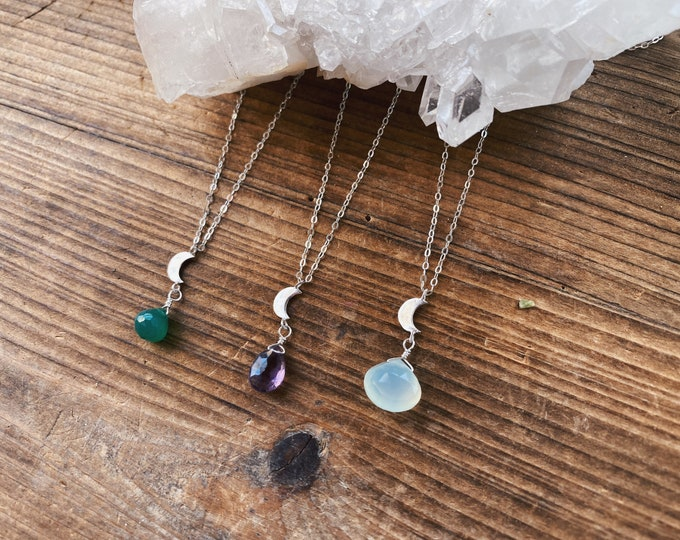 Featured listing image: Crescent Moon Gemstone Necklace - Sterling Silver