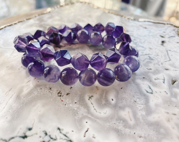 Featured listing image: Choose One Beaded Bracelet // Beaded Gemstone Bracelet // Mala Bracelet // Amethyst Bracelet // Aquamarine Bracelet // Gemstone Bracelet