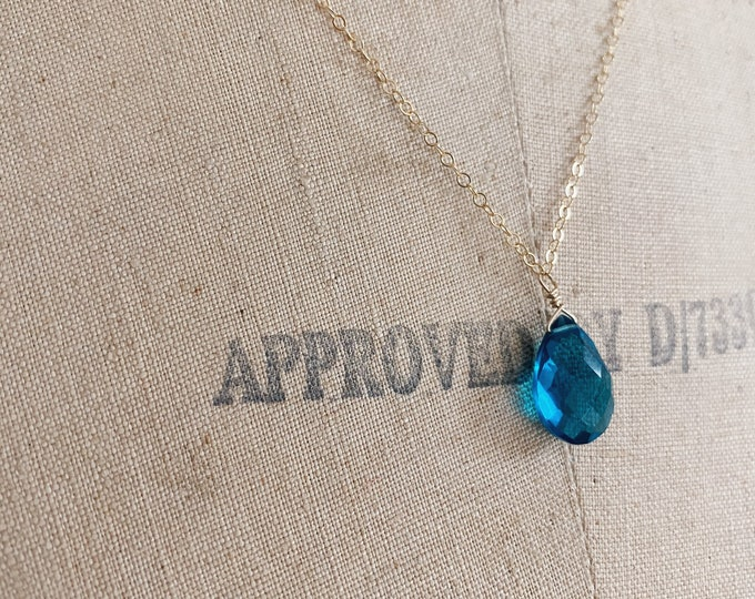 Blue Topaz Necklace // Stacking Necklace // Layering Gemstone Jewelry //Handmade in Indiana // Something Blue // Blue Topaz Necklace