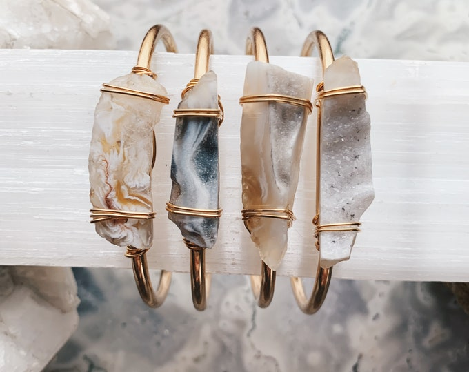 Featured listing image: Gold Agate Cuff // Drusy Agate Slice Bracelet // Gemstone Bangle // Geode Bracelet // Drusy Bracelet // Druzy Cuff // Bridesmaid Gift //