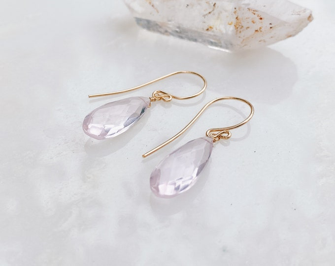 Featured listing image: AAA Rose Quartz Drop Earrings // Choose Your Own Metal French Hook Earrings // Handmade // Rose Quartz Earrings // Quartz Crystal Earrings