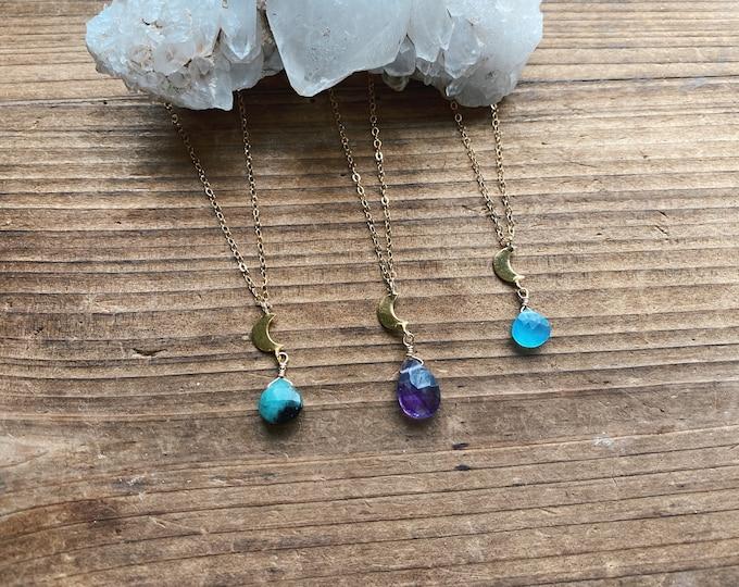 Crescent Moon Necklace - 14k Gold Filled