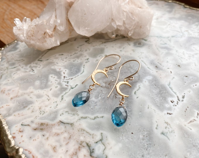 Featured listing image: Blue Topaz Moon Earrings// Moon Phase Jewelry // Moon Phase Gemstone Jewelry //Handmade in Indiana // Something Blue // Blue Topaz Earrings