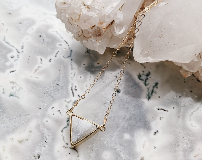 Featured listing image: Drusy Triangle Gemstone Necklace // White Druzy // Handmade in Indiana // Rana Salame // Triangle Druzy Necklace // AB Druzy // AB Drusy