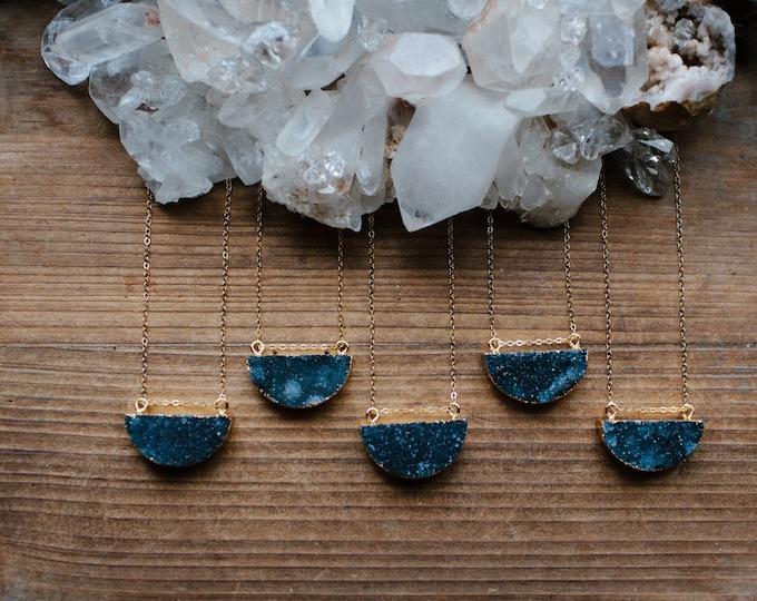Black Onyx Half Moon Drusy 14k Gold Filled Necklace