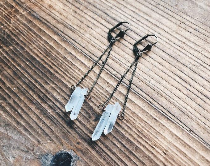 Brass Double Quartz Earrings