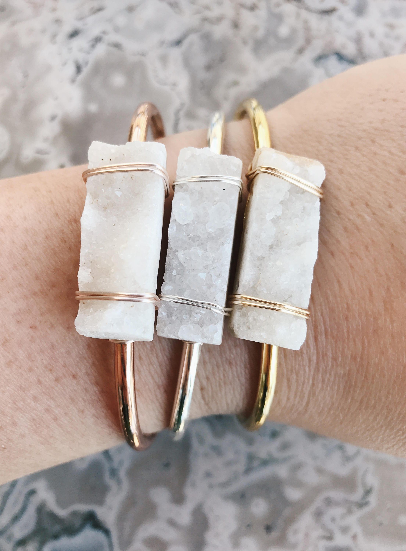 70aef8569 Drusy Quartz Gemstone Bangle // Cuff Bracelet // Handmade by Rana ...