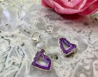 Sterling Silver Geode Drusy Earrings // Quartz Geode Earrings // Quartz Gemstone Earrings // Sterling Silver Bridal Earrings // statement