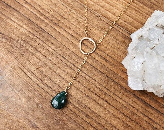 Emerald Lariat // Small Teardrop Gemstone Lariat Necklace //  by Rana Salame // Emerald Necklace // Emerald Gemstone Necklace // Crystals